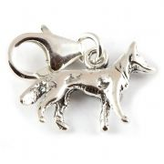 Alsatian Dog Sterling Silver Clip On Charm - With Clasp